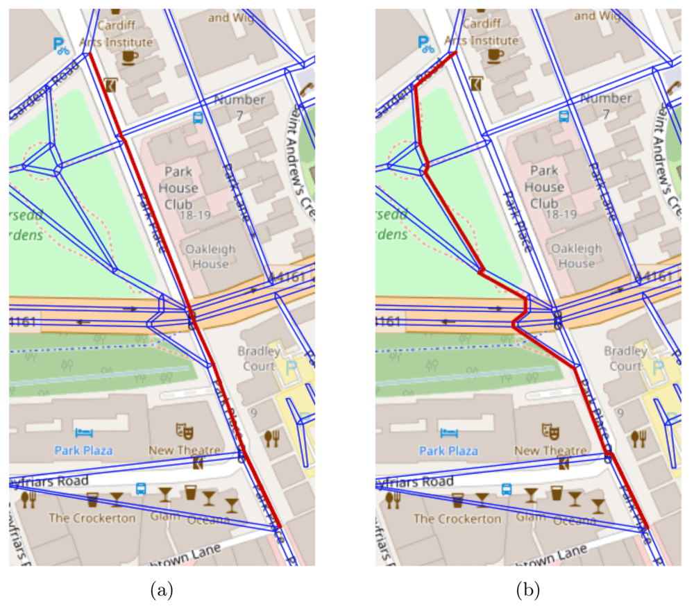 The shortest and safest paths from a location in the top to a location in the bottom is illustrated in (a) and (b) respectively. In both figures the pavement network is represented by a set of blue lines and the path in question is represented by a sequence of red lines.