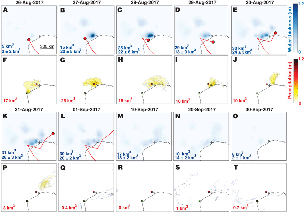 Comparison of accumulation and dissipation of terrestial water storage (TWS) with observed precipitation across the Gulf Coast over time. Figure: Milliner et al., 2018.