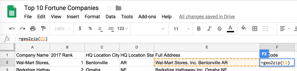 How to Populate a Cell with the ZIP Code Based on an Address