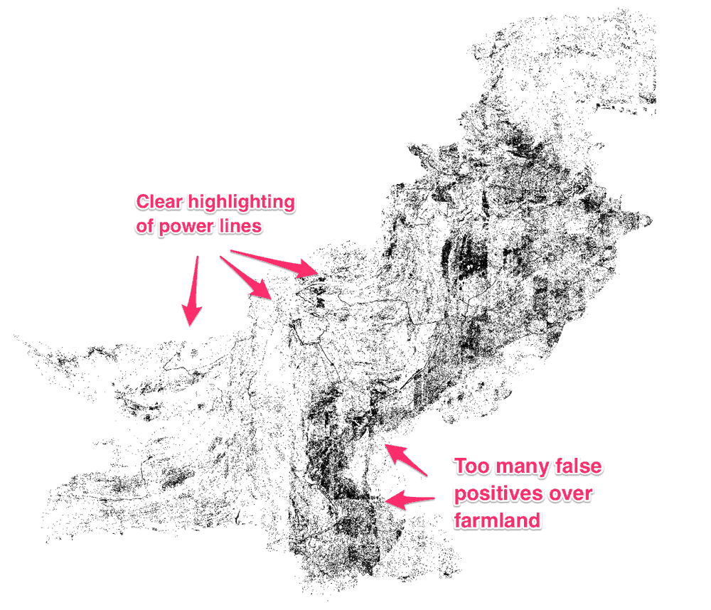 Black dots predict where a high voltage tower might be present. The model worked well in desert areas of Pakistan but produced a high number of false positives in farmland areas. Source: Bollinger, 2018.