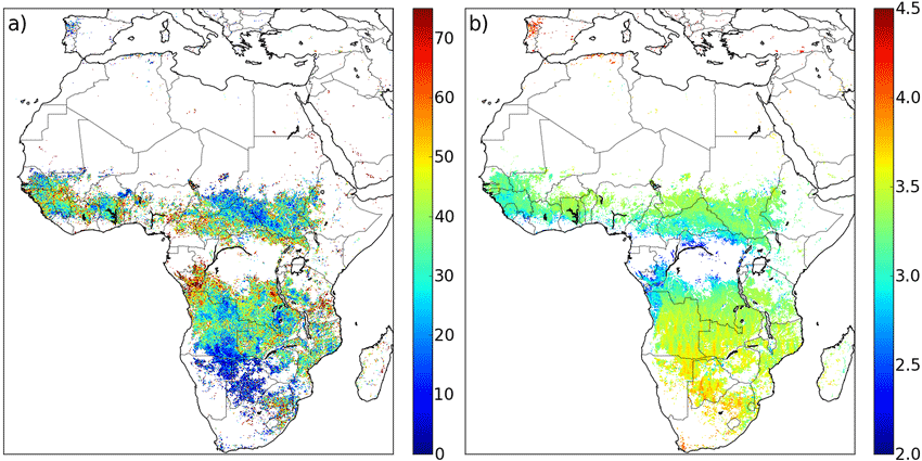 Detection of fire activity at MODIS detection opportunities . (a) Percentage of FRE emitted on days that the SEVIRI instrument did not observe active fires at MODIS overpasses. (b) Number of MODIS detection opportunities per day during the burning season (mean over the study period, weighted for monthly FRP). Figure: Andela, N., Kaiser, J. W., Van der Werf, G. R., & Wooster, M. J. (2015). New fire diurnal cycle characterizations to improve fire radiative energy assessments made from MODIS observations. Atmospheric Chemistry and Physics, 15(15), 8831-8846.