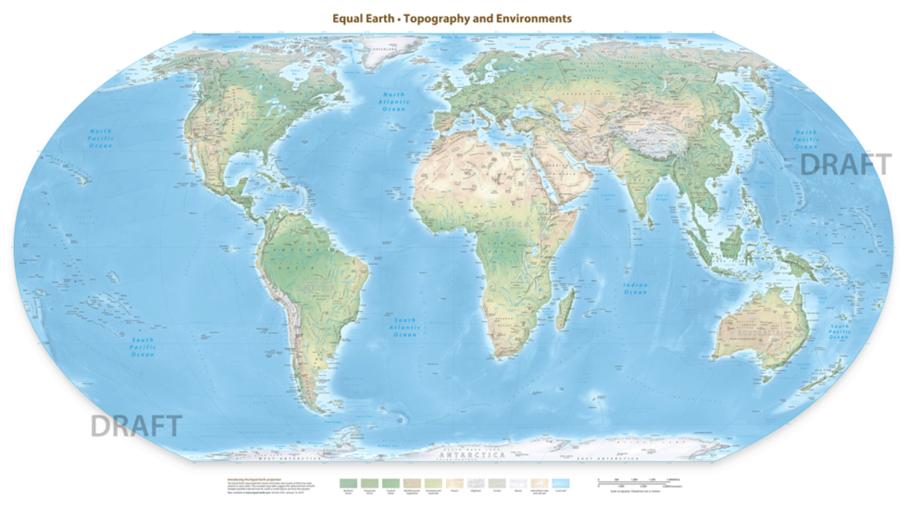 Draft Equal Earth Physical Map Open for Public Comment ~ GIS Lounge
