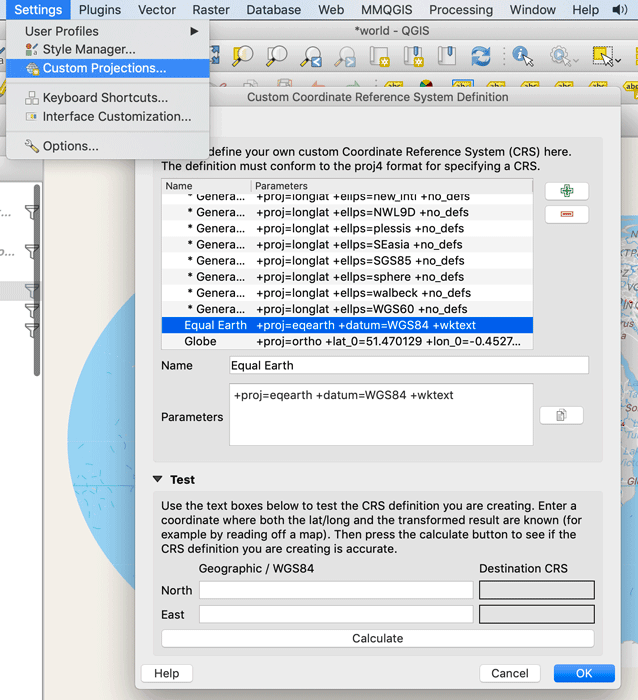 How To Use the Equal Earth Projection With QGIS on the Mac