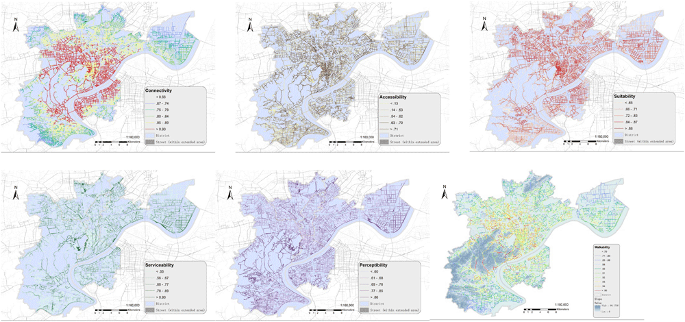 Spatial patterns of the integrated walkability index and corresponding five sub-indices at segment level within Hangzhou metropolitan area. Figure:  Su et al., 2019