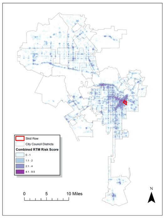 Applying Risk Terrain Modeling (RTM) to predict spatial areas of high risk of homeless related crime in Los Angeles, California.  Figure: Yoo, Y., & Wheeler, A. (2019). Using Risk Terrain Modeling to Predict Homeless Related Crime in Los Angeles, California.