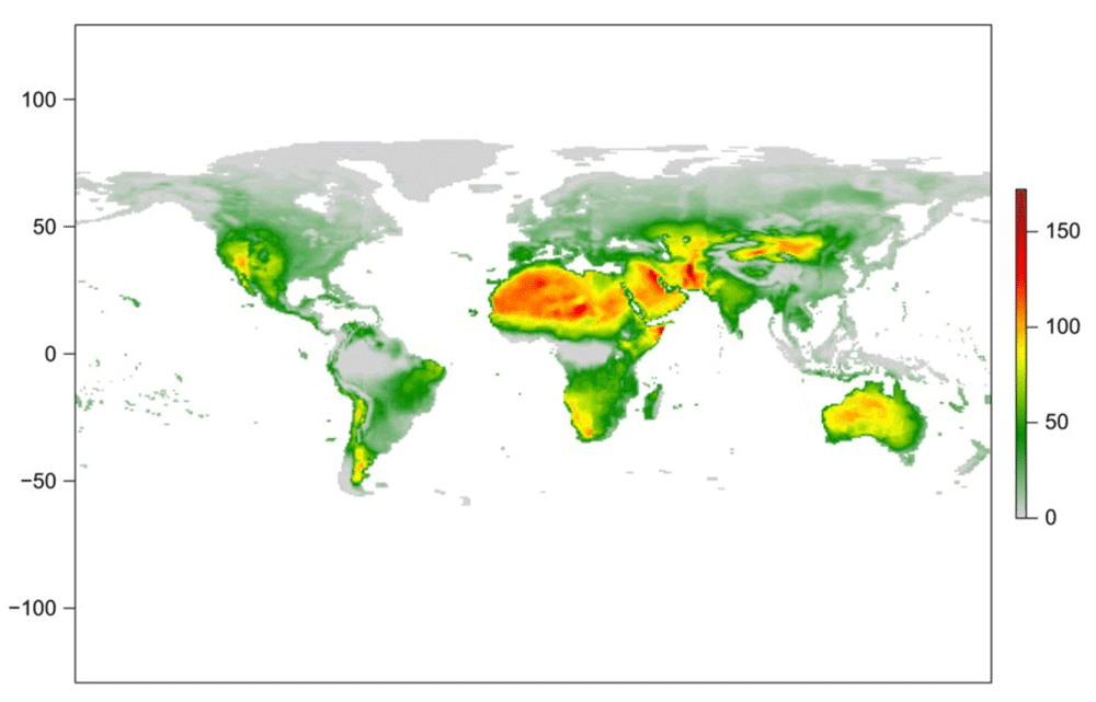 Global maps of 90th percentile of the Fire Weather Index where values are calculated cell by cell for the period 1980–2017. Figure: Vitolo et al., 2019.
