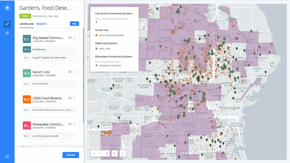 Open GIS software is being successfully utilized by an environmental organization in Milwaukee, to contest urban poverty. Source: Welcenbach Maps from Ghose & Welcenbach, 2018.