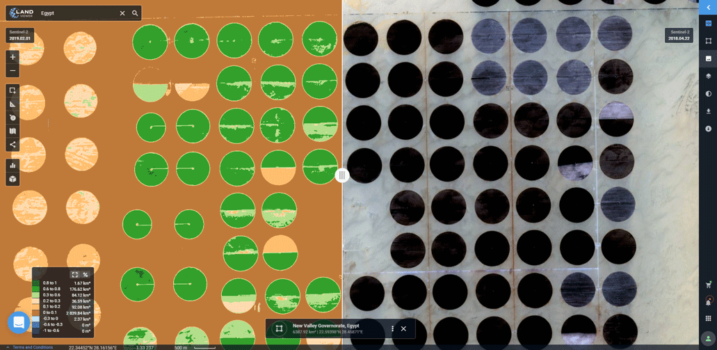 Sentinel-2-derived SAVI analysis of an arid agricultural region in Egypt (in the left).