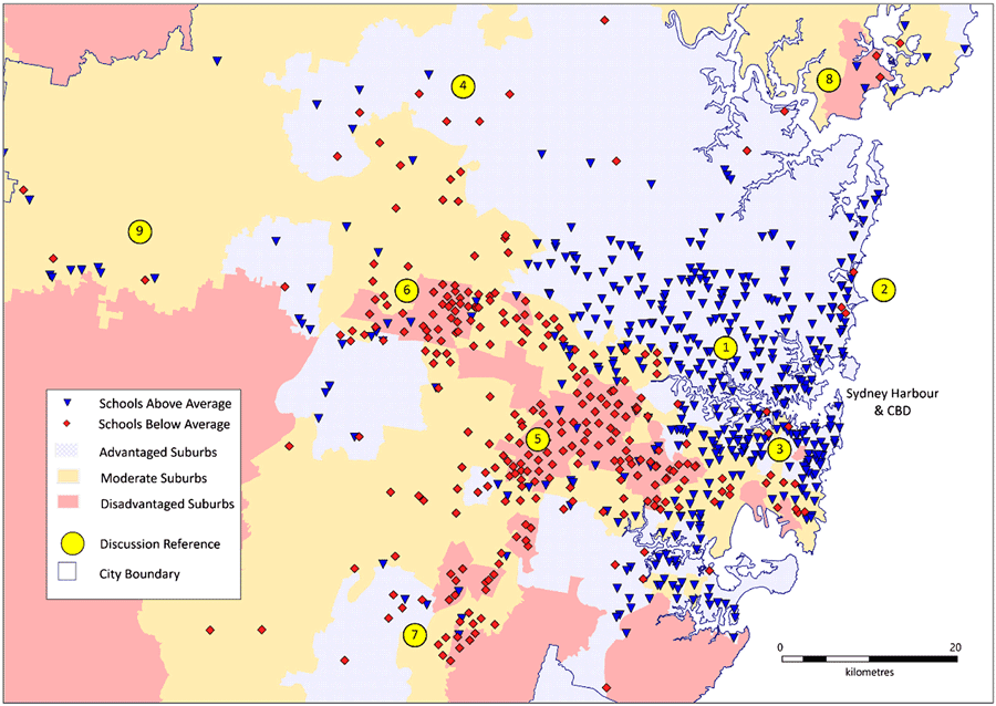 Mapping schools based on rank above/below average in Sydney, Grade 5 reading, 2016. Map: Smith, Parr, and Muhidin, 2018