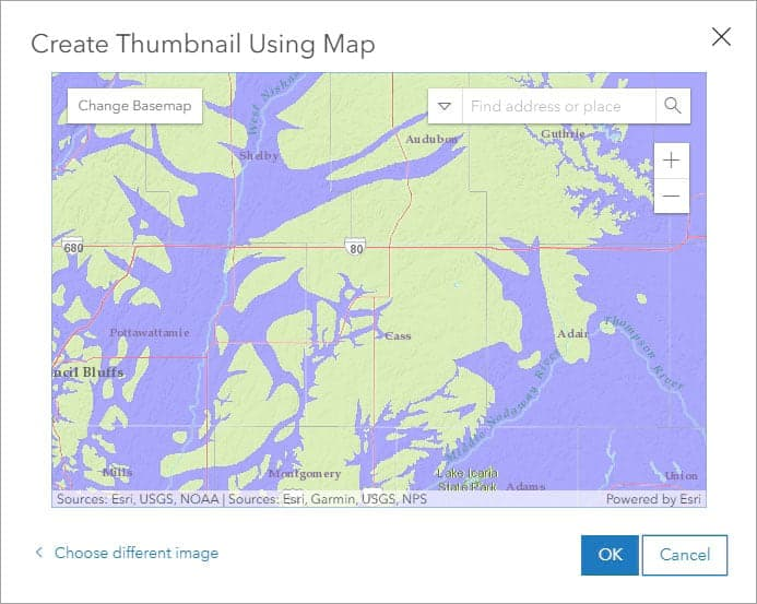 Screenshot of the create thumbnail using map function in ArcGIS Online.