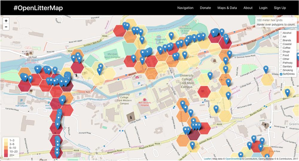 OpenLitterMap Data on Plastic Pollution around UCC, Cork, Ireland