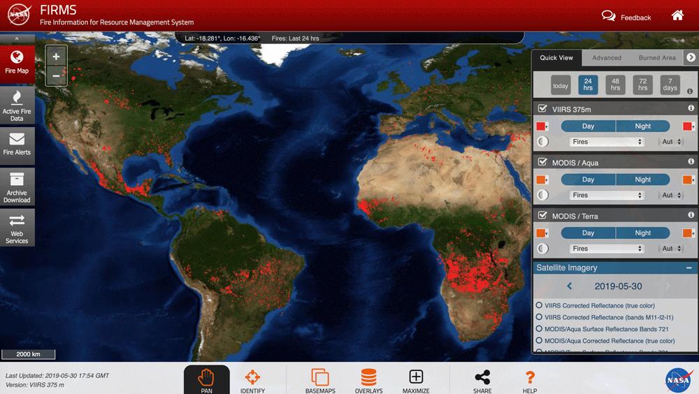 Resultado de imagem para PICTURE OF Fire Map - FIRMS