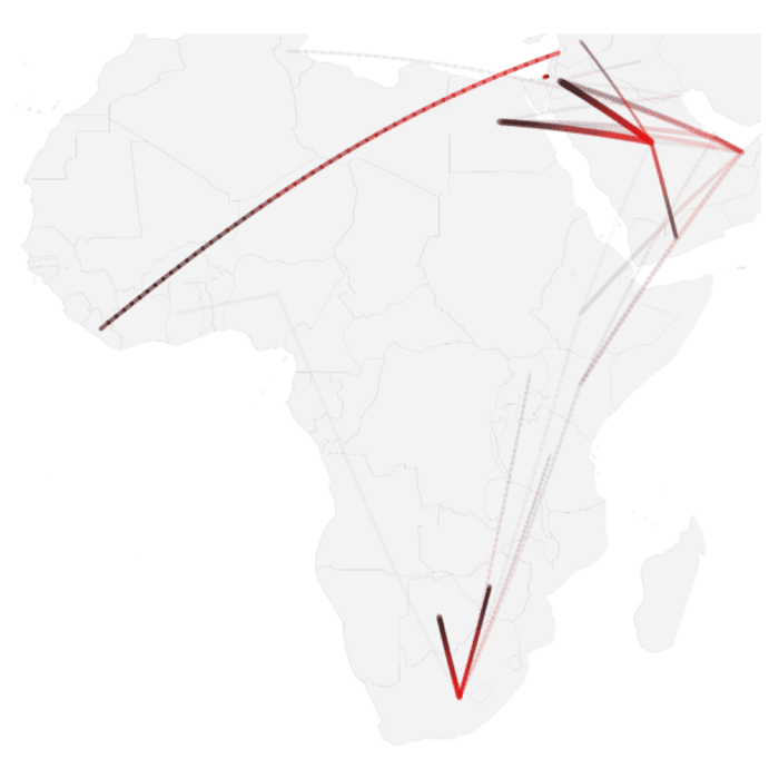 Map showing conditional probabilities of migration in Africa.  Source: State, Weber, & Zagheni, 2013.