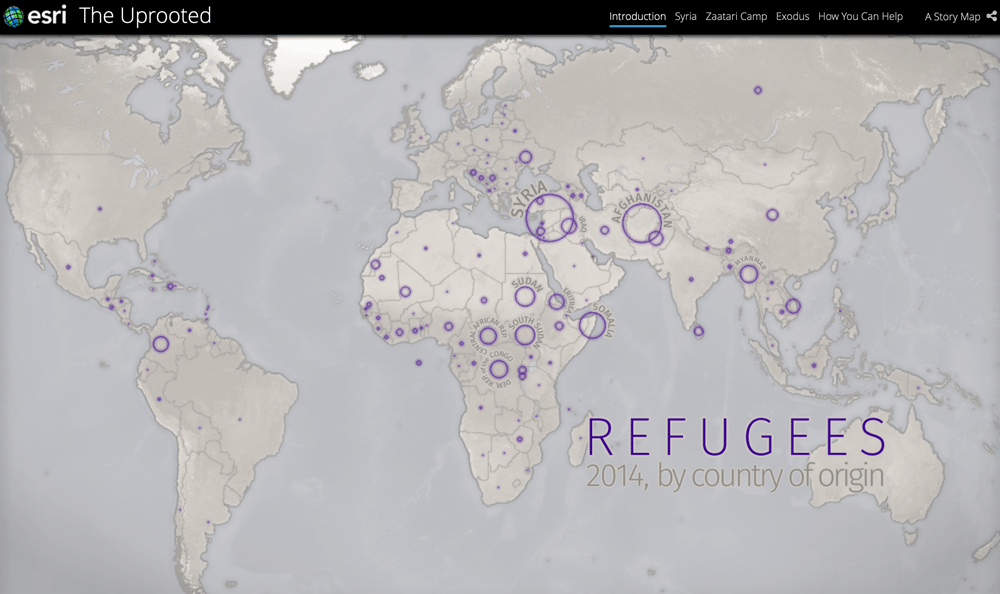 Esri's story map, The Uprooted, tells the story of refugees and the experiences they go through.
