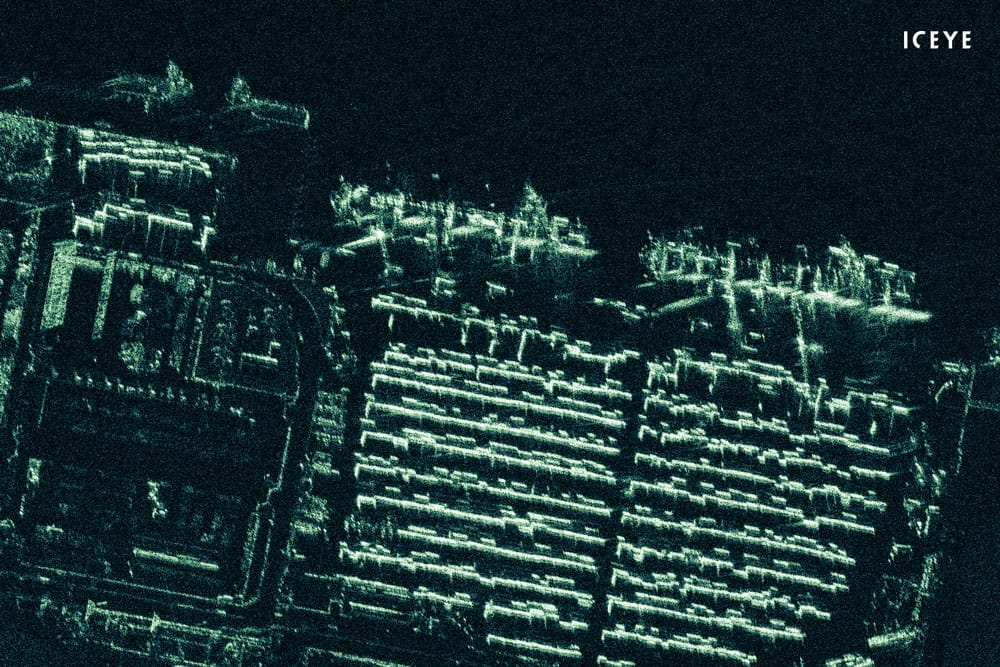 ICEYE radar satellite imagery that has been acquired and processed at 0.5-meter ground sample distance, featuring a port container terminal near Port Harcourt, Nigeria. Image: ICEYE