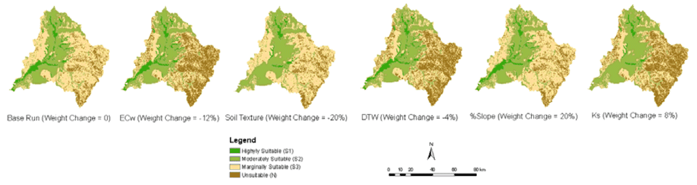 Example evaluation maps presenting irrigated cropland suitability classification as a result of weight changes. Figure: Chen, Y., Yu, J., Shahbaz, K., & Xevi, E. (2009, July). A GIS-based sensitivity analysis of multi-criteria weights. In Proceedings of the 18th World IMACS/MODSIM Congress, Cairns, Australia. Citeseer (pp. 13-17).