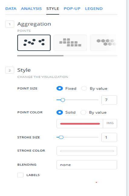 Figure 1. Style Tab in CARTO Layer Interface