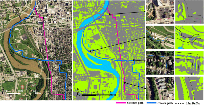 Mapping the amount of street greenery (left: aerial imagery in natural color, center: classified land-cover map with green pixels indicating vegetation, right: the amount of vegetation within the 15m buffer area. Figure: Park & Akar, 2019