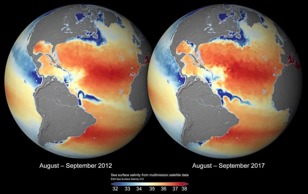 Global sea-surface salinity 2012 and 2017. Maps: ESA Sea Surface Salinity CCI