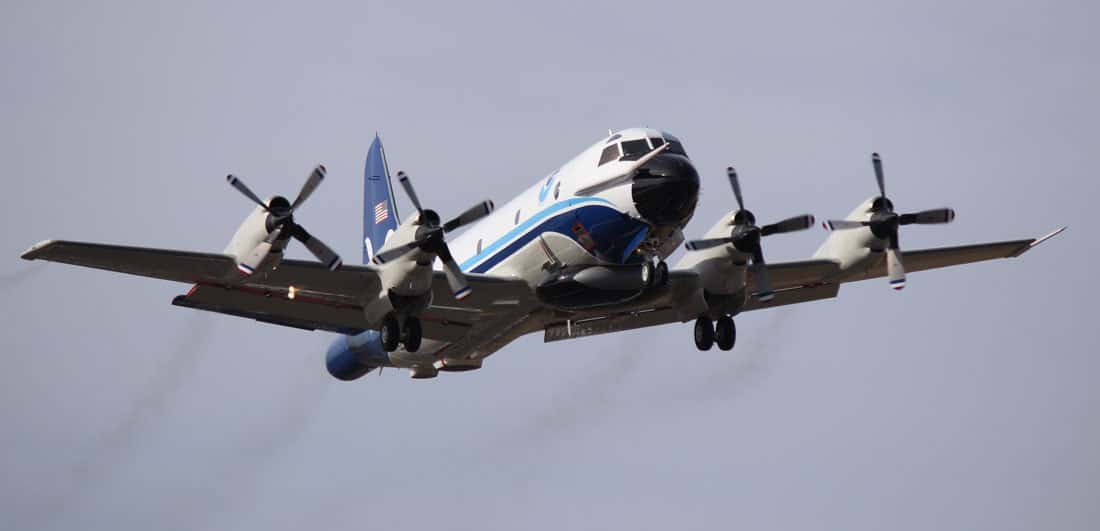"""Specialized planes like this NOAA Lockheed WP-3D Orion N42RF, also known as """"Kermit, are outfitted to collect weather data.  Photo: Lt. Kevin Doremus / NOAA"""