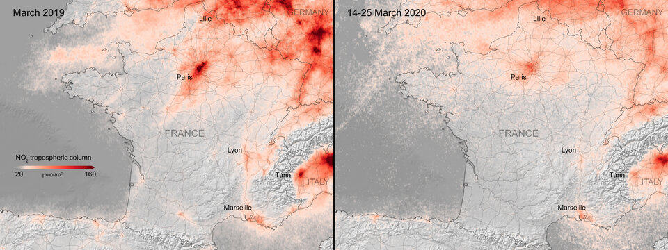 Nitrogen dioxide concentrations over France.  Maps: ESA -  Coronavirus lockdown leading to drop in pollution across Europe, 2020.