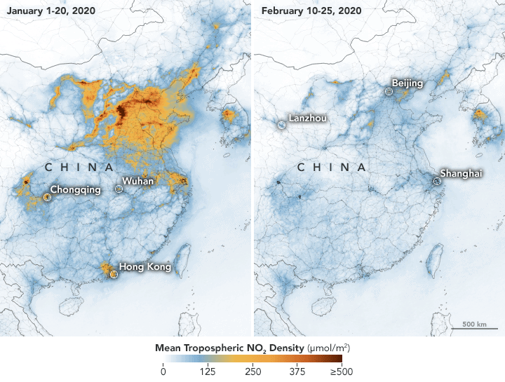Maps showing NO2 values across China from January 1-20, 2020 (before the quarantine) and February 10-25 (during the quarantine). The data from the Tropospheric Monitoring Instrument (TROPOMI) on ESA's Sentinel-5 satellite. Source: NASA, 2020.