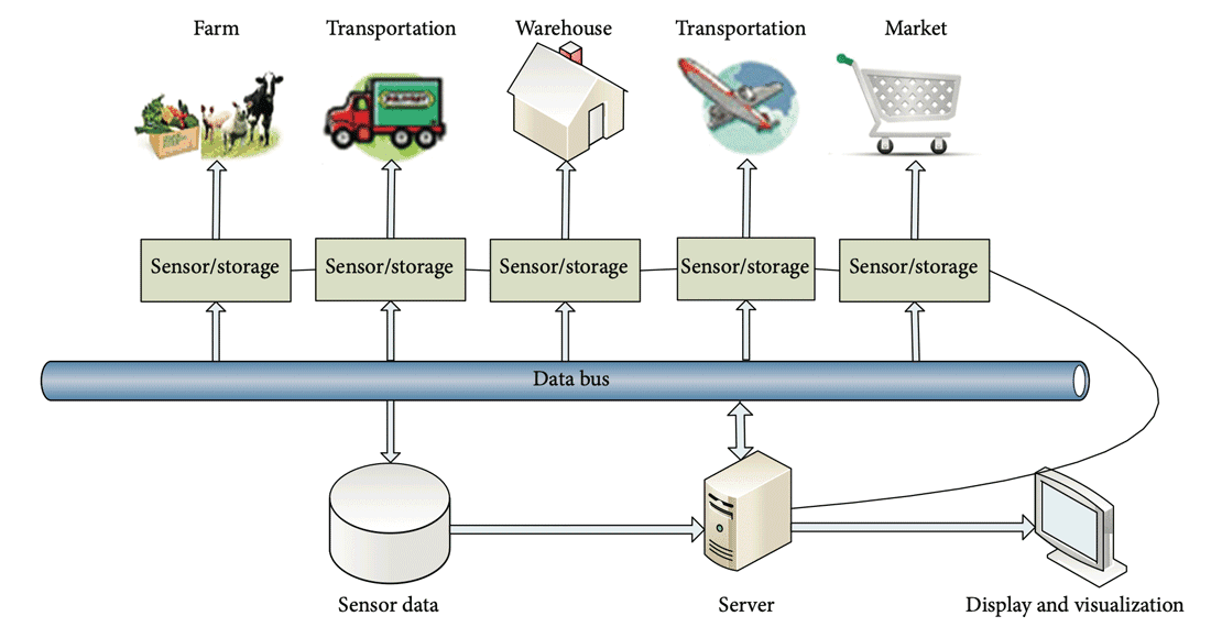 An illustration of IoT system's physical structure modeled for food supply chain. FigureL Zhang, Q., Huang, T., Zhu, Y., & Qiu, M. (2013). A case study of sensor data collection and analysis in smart city: provenance in smart food supply chain. International Journal of Distributed Sensor Networks, 9(11), 382132. under license CC BY 3.0