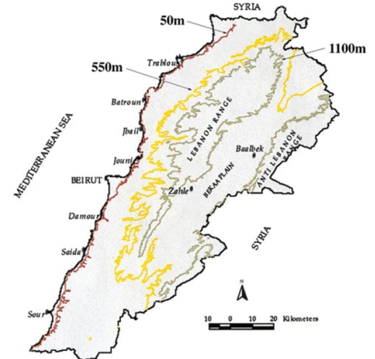 Generalized Topographic Map of Lebanon.  Map: author.