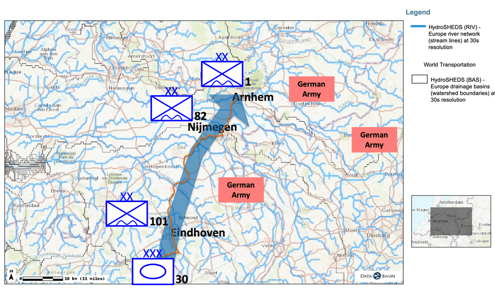 Map showing hydrology in the Netherlands and proposed route used by British Tank units during operation Market Garden.  Map: author.