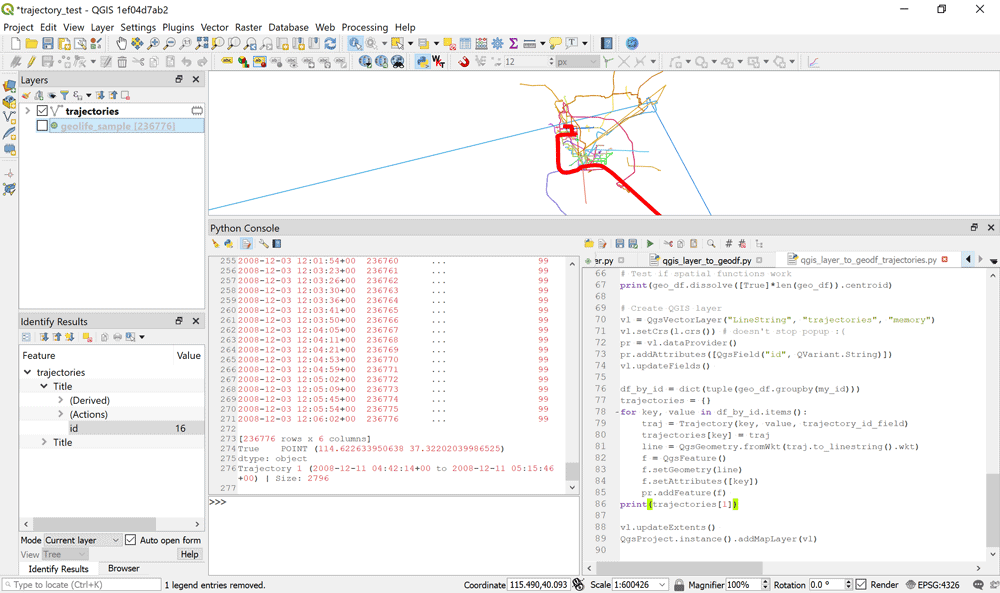 Using GeoPandas in QGIS for trajectory data handling.  Image: Anita Graser.