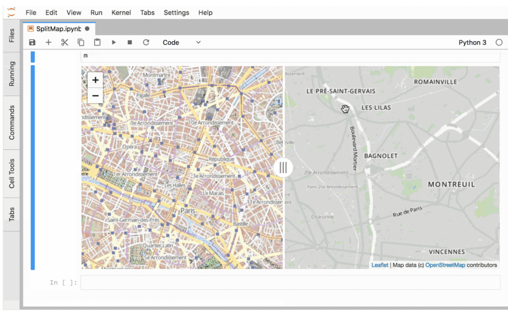 The split map function is a part of the ipyleaflet package, an interactive maps visualization system for Jupyter.