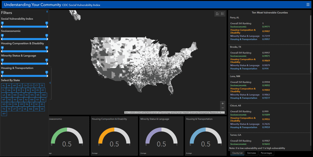 The CDC Social Vulnerability Index maps and tracks social vulnerability within the United States by looking at numerous factors including the racial demographics.  Via Esri - Analyze Racial Inequity During COVID-19