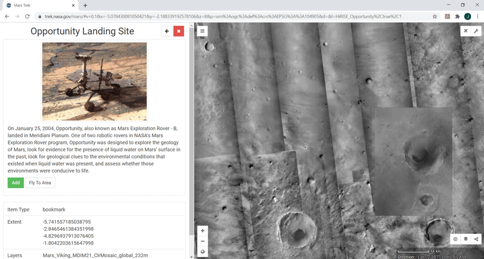 NASA open source Mars Trek Depicting Opportunity's landing site and mission