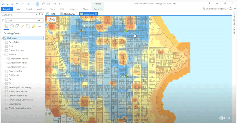 Blue are areas of high spatial accuracy while orange areas are less spatially accurate.