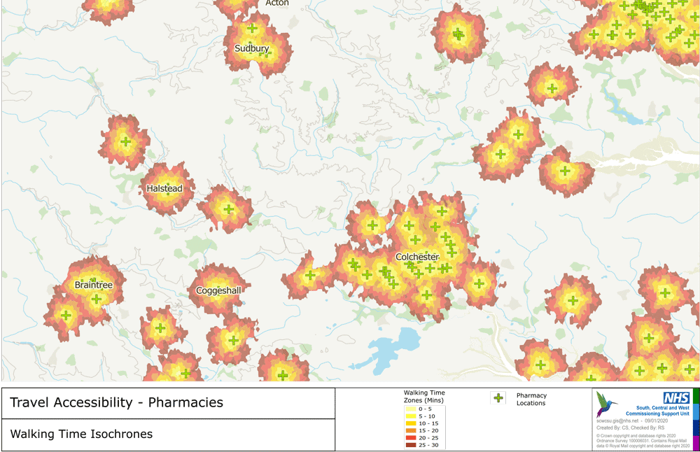 Isochrone map showing walk times to local pharmacies. Source: HealthGIS, NHS, UK.