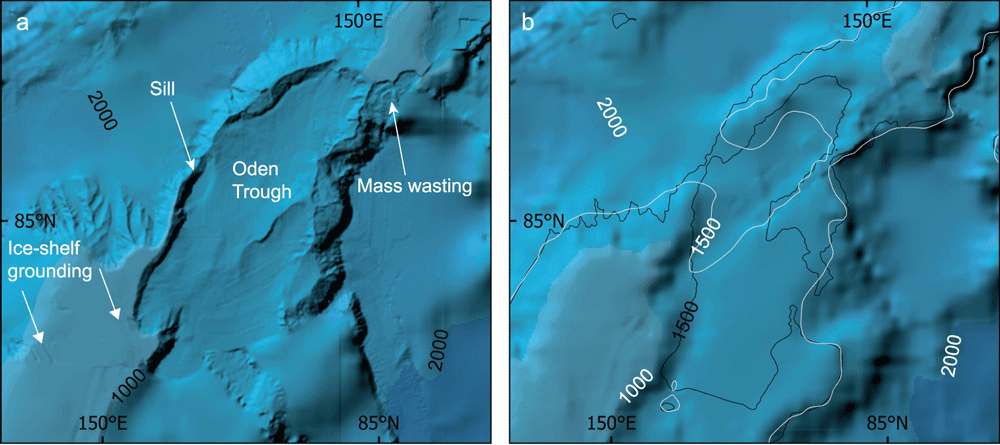 Maps showing the different in detail and resolution of International Bathymetric Chart of the Arctic Ocean (IBCAO) between Ver. 3.0 (500 × 500m resolution) and Ver. 4.0 (200m x 200m resolution) in two areas of the Lomonosov Ridge. Source: Jakobsson, M., Mayer, L.A., Bringensparr, C. et al. The International Bathymetric Chart of the Arctic Ocean Version 4.0. Sci Data 7, 176 (2020). https://doi.org/10.1038/s41597-020-0520-9
