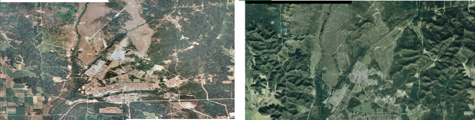 Figure 4 (left) 2004 USGS imagery mosaic used for study area. Figure 5 (right) 2018 USGS imagery mosaic used for the study area.