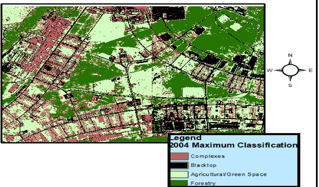Figure 9. Raster output for the 2004 study area consisting of approximately 1,987 acres. Maroon = complexes, black= blacktop, light green= agricultural/green space, dark green= forestry.