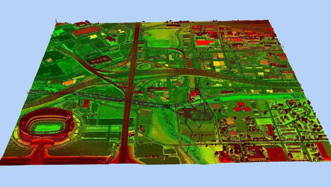 3D elevation data for an area of Denver, Colorado, in the form of a lidar point cloud.  Image: Jason Stoker, USGS, public domain.