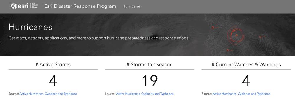 Esri's Disaster Response Program Hurricane Hub site