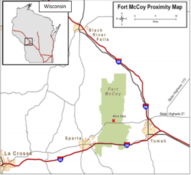 Figure 1. Fort McCoy study area located in west-central Wisconsin. Proximity of next major towns: 9 miles east of Sparta, WI, 12 miles west of Tomah, WI, 28 miles south of Black River Falls, WI.
