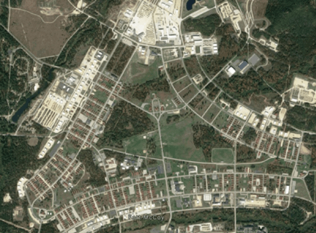 Figure 3. Ft. McCoy area of interest/study area. Fort McCoy serves as a Total Force Training Center that supports the year-round training of Reserve, National Guard and active component U.S. military personnel from all branches of the armed services (Real McCoy, 2019).