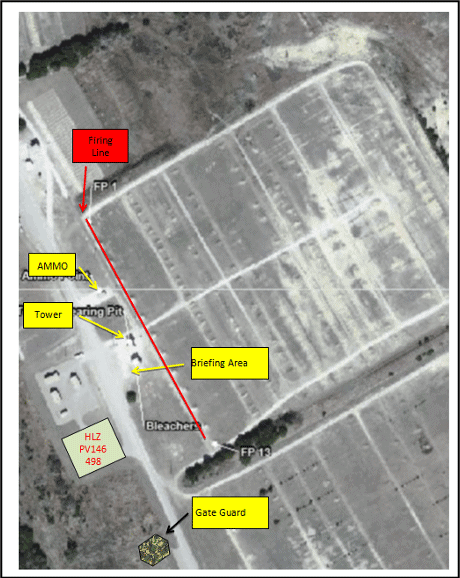 Figure 3. Map of a small arms range on Fort Hood, Texas; Prepared by 2LT Merritt to brief the range plan to higher-ranking commanders. The base map is from the Fort Hood Range Catalog (A pamphlet that lists the ranges and their capabilities).