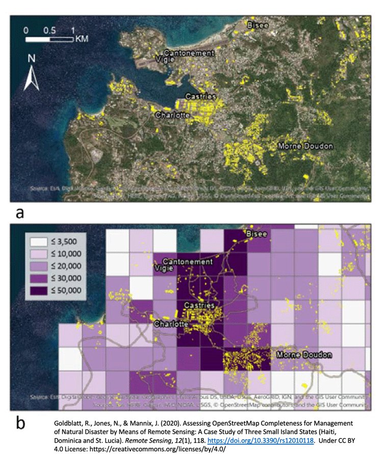 Map A shows OpenStreetMap (OSM) building footprints overplayed onto an aerial. Map B shows predicted building footprint by area. The darker purple areas predict a high frequency of building footprints. The yellow overlay are the OSM building footprint layer. Source: Goldblatt, Jones, & Mannix, 2020, CC BY 4.0