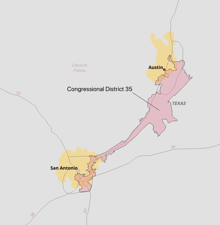 An analysis by The Washington Post found the 35th Congressional District to be among the top ten gerrymandered congressional districts. Maps created using Natural Earth data and the 16h Congressional District.