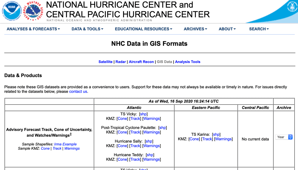 The National Hurricane Center offers GIS data about current and past hurricanes.  Screenshot from the web page taken September 16, 2020.