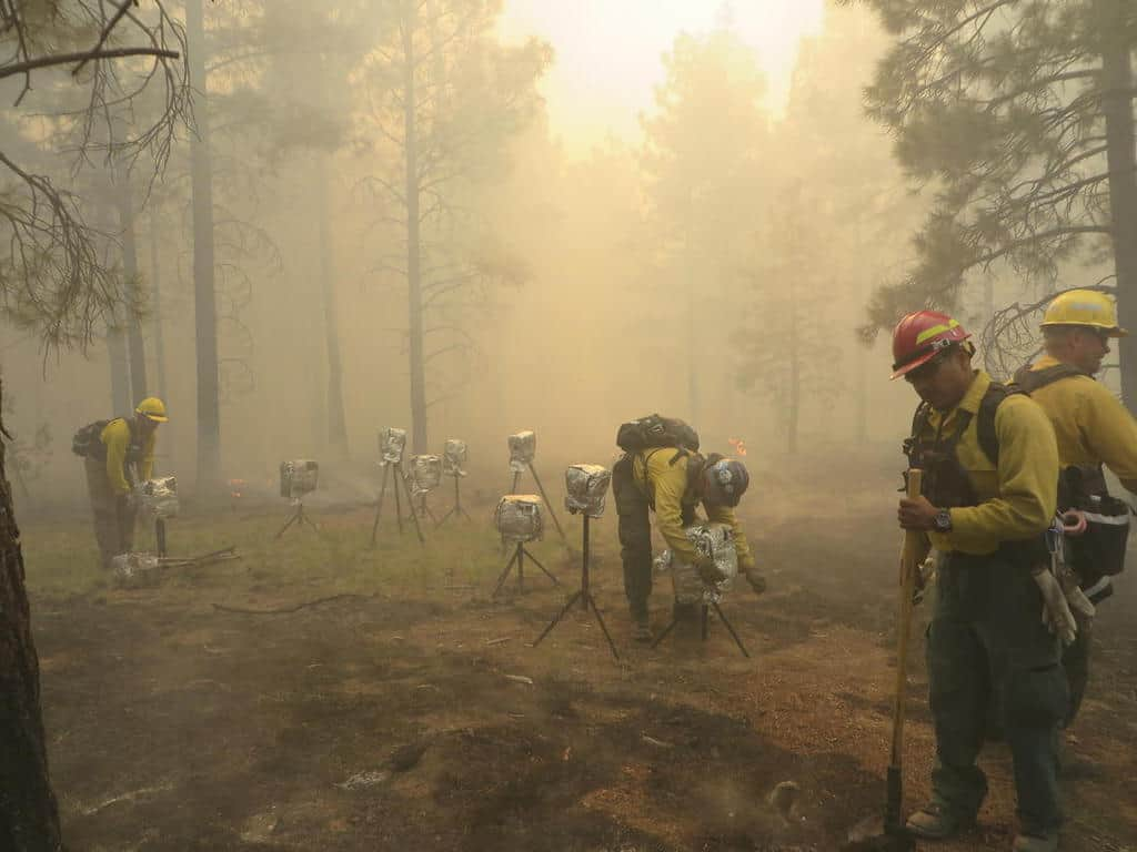 Fire behavior instruments are deployed during wildfires and prescribed fires to provide data on the types of fire environments that damage archaeological resources. Photo: Rachel Loehman, USGS. Public domain.