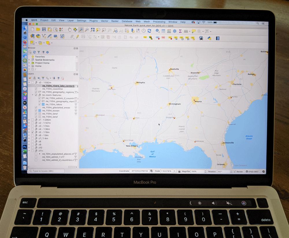 QGIS on a laptop. Image: Caitlin Dempsey