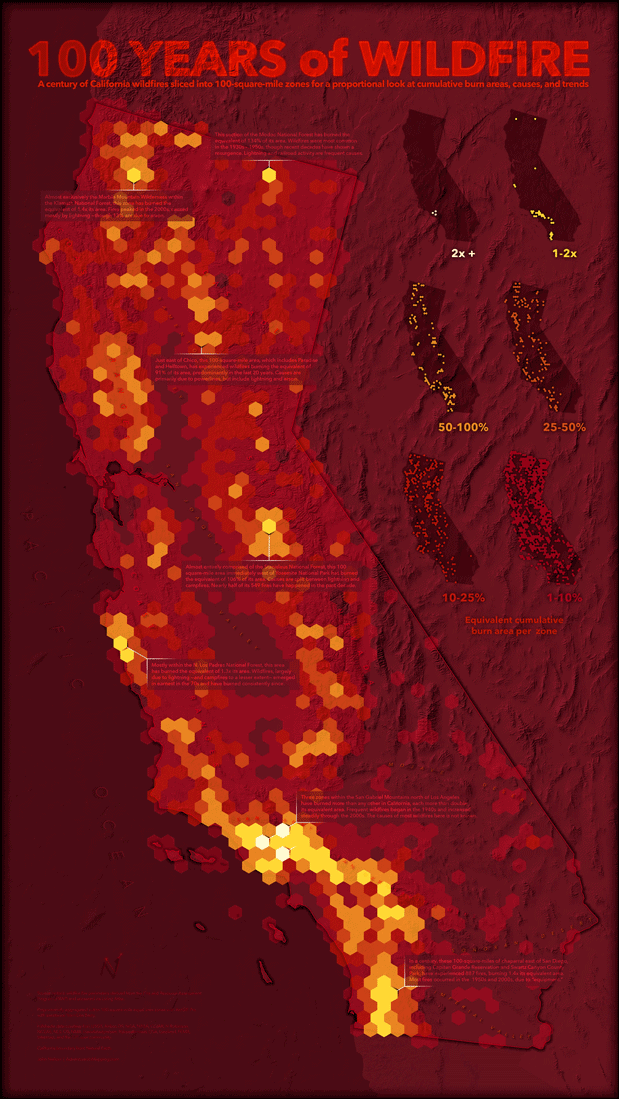 """John Nelson is well known for his creative cartographic visualizations. One of his latest works is the """"100 Years of Wildfire"""". The effort behind this map can be explored on two Esri blog posts: 100 Years of Wildfire: GIS-ification and 100 Years of Wildfire: Cartograph-izing."""
