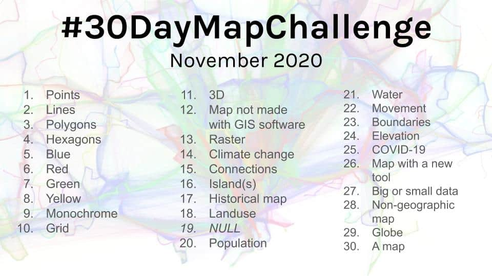 Participating in the annual 30 Day Map challenge in November hosted by Topi Tjukanov on Twitter is one way for users to improve their cartography skills.